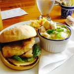 Halibut Burger & Halibut and Scallop Chowder