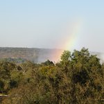 rainbow mist from the falls from the hotel patio