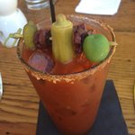 bloody mary with picked okra