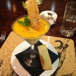 Panna cotta prepared with passion fruit on top (So delicious!)
