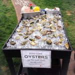 Fresh Oysters shucked in front of us while we sat on the docks of the marina at Rosario.