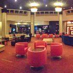 The lobby is a relaxing space to enjoy a beer or coffee and watch TV