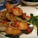 Salt and pepper stuffed squid
