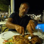 one of many dinners at the Villa Apollon.. spatchcock chicken