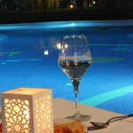 Poolside dining at night!