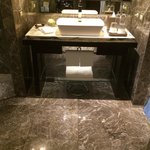 Toilet is big around 150 feet and the decoration is luxury.