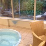 inside and outside jacuzzi/Canadian hot tub.