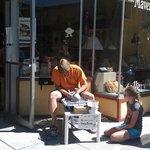 Making pots on the sidewalk at ArtWalk