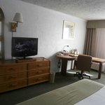 TV and work area in Room 407