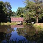 Mast Farm Inn pond, cottages (blacksmith shop and woodworking ship)