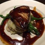 Tuna steak medium with ginger soy glaze & mashed potatoes & fresh green beans, amazing!