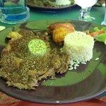 steak grillé, gratin aubergines riz
