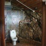 Salle de bain construite dans le rocher