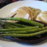Asparagus, white meat turkey, potatoes and cornbread dressing