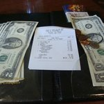 Our check and our gift card plus cash payment