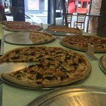 Selection of pizza to choose from