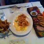 Frites, calamari, Charcuterie plate