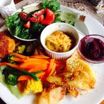 Vegetarian platter.  I have never seen anything so extensive not to mention beautiful.  Unbeliev
