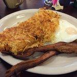 Basic bacon, 2 eggs and shredded hash browns.  Yum!