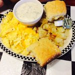 Two eggs with cheese, potatoes and homemade biscuits and gravy