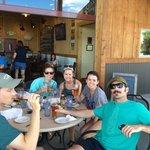 Celebratory after-rafting beers.