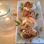 Deviled eggs with fried oysters