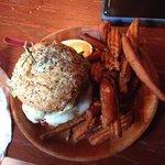 island chicken sandwich with sweet potato wedges!