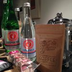 coffee and 'Hepburn' 'Springs' bottled water / sparkling water