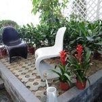 balcony with courtyard garden