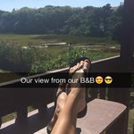 Enjoying the beautiful view from the deck off of our room!