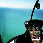 View from backseat of helicopter.