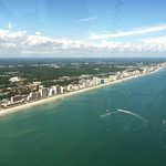 View of Myrtle Beach from backseat of helicopter.