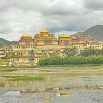 A shot of the monastery from the water. High contrast settings applied to brighten the image on