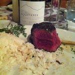Prato principal com uma bela garrafa de Syrah Aquitania