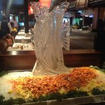 Sunday brunch ice sculpture with boiled shrimp