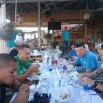 Enjoying the delicious food of Greece!