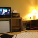 Old TV, microwave and mini-fridge