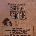 Pasta De Waraku closing down announcement