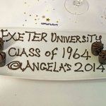 A lovely touch homemade chocs presented to us on personalised trays at the nd of the meal