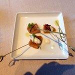 Amuse-bouche (cured salmon)