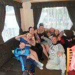 family in a bronze caravan