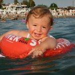 Сыночек в море!