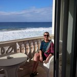 My wife on the balcony of our room