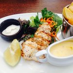 Grilled chicken lunch with a tasty lime mayo