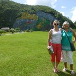 Vinales tour - prehistoric murals in backgournd on hill
