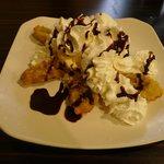 Fried banana tempura dessert
