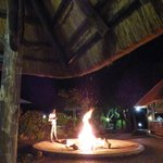 The dining lodge. In the winter, a fire is made when the sun sets.