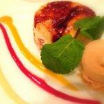 Bagatelle de cerise chaud au yuzu et caramel glace