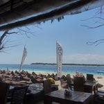 View of the beach in front of the restaurant