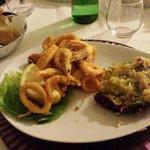 Fritto di pesce con risotto speck e zucchine... Mmm buonissimo